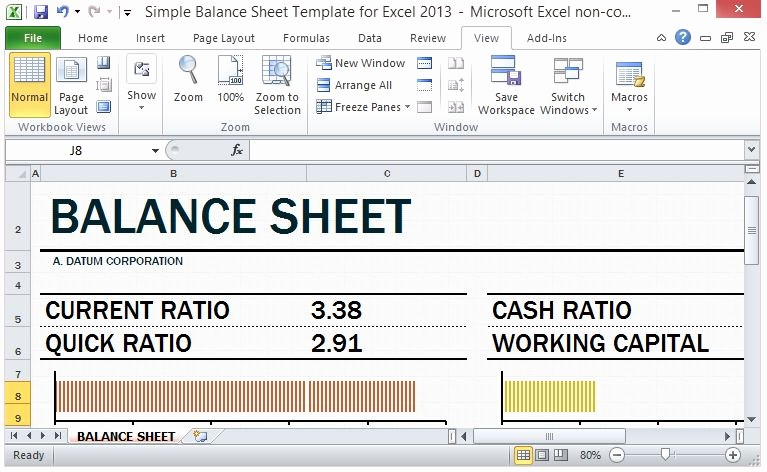 Working Capital On Balance Sheet New Simple Balance Sheet Template for Excel 2013 with Working