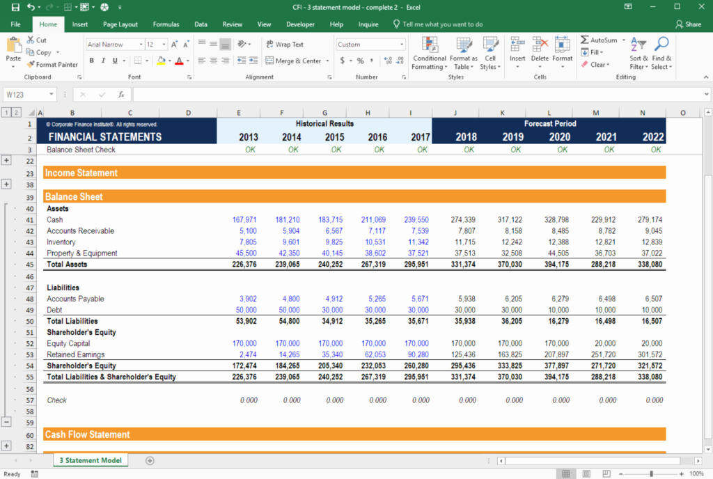 Working Capital Requirement Calculation Excel Awesome 3 Statement Model In E Statement Balance Sheet Cash Flow