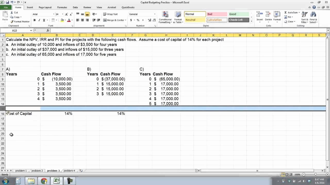 Working Capital Requirement Calculation Excel Elegant Overview Of Capital Bud Ing Techniques In Excel