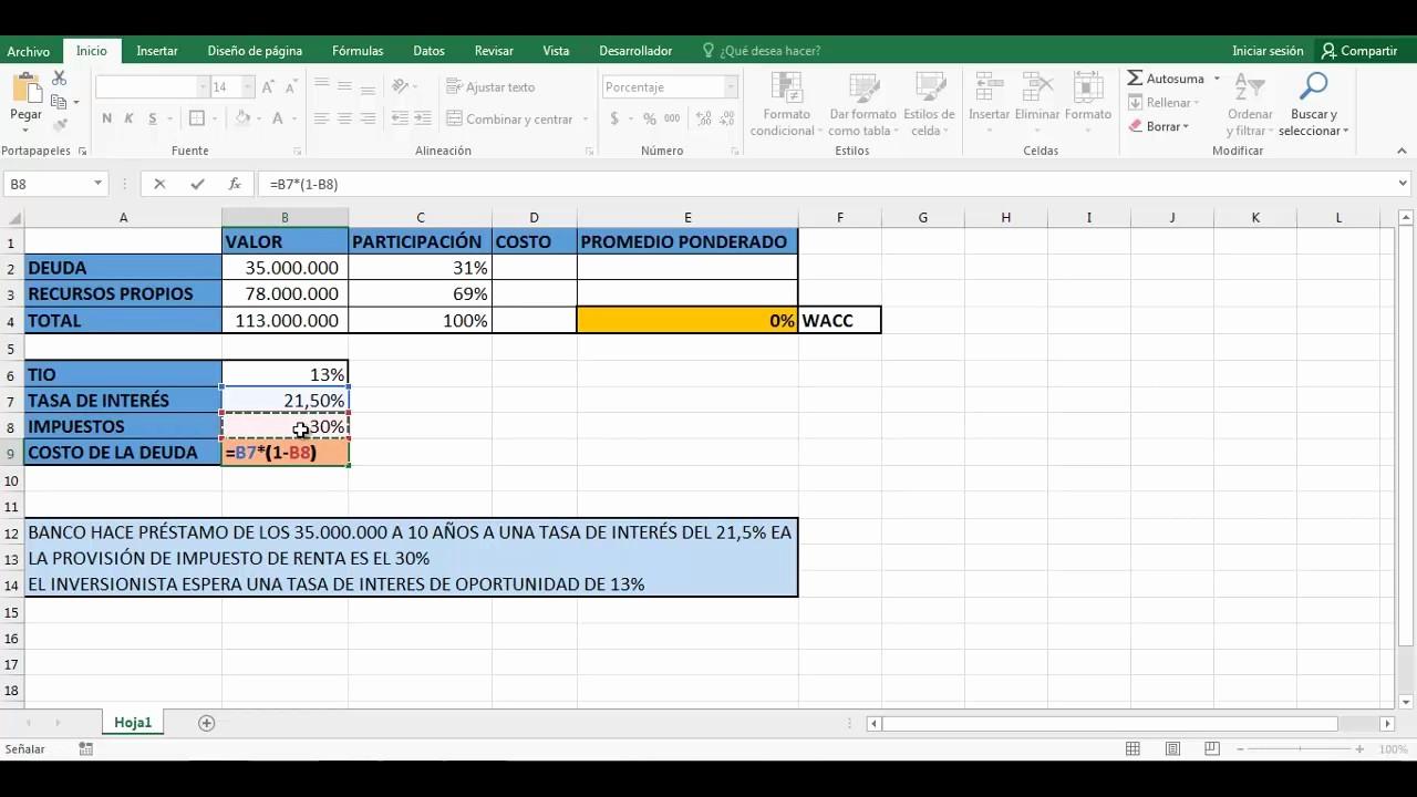 Working Capital Requirement Calculation Excel Elegant Wacc Costo Promedio Ponderado De Capital En Excel 2016