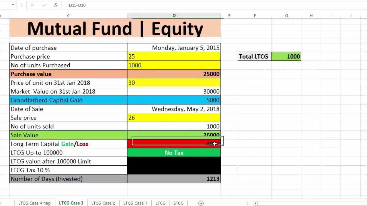 Working Capital Requirement Calculation Excel New Long Term Capital Gain Tax On S and Mutual Fund Excel