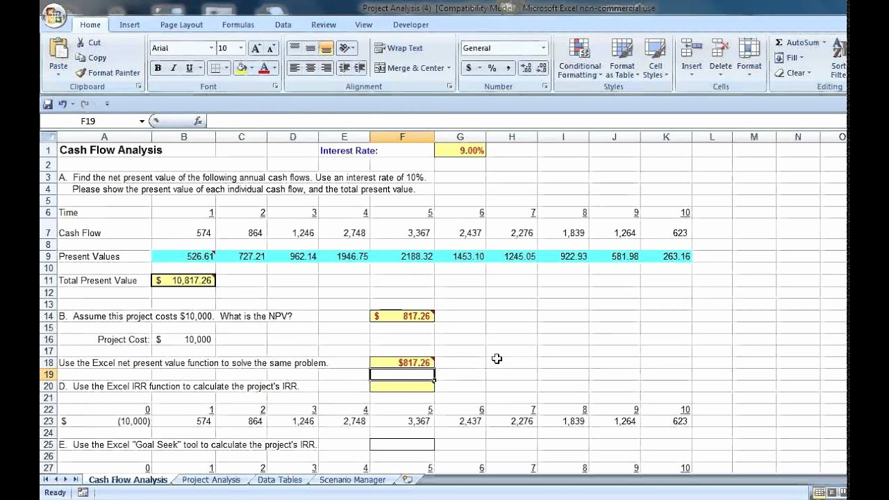 Working Capital Requirement Calculation Excel Unique Excel Cash Flow Analysis with Irr and Goal Seek