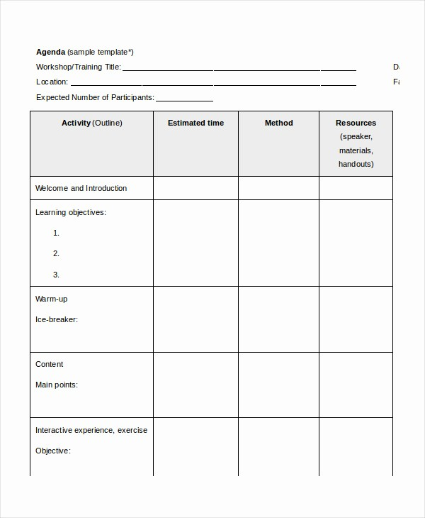 Workshop Agenda Template Microsoft Word Awesome Word Agenda Template 6 Free Word Documents Download