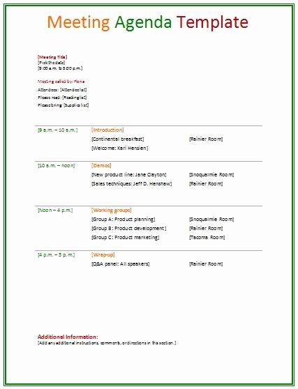 Workshop Agenda Template Microsoft Word Fresh Meeting Agenda Template Agendas