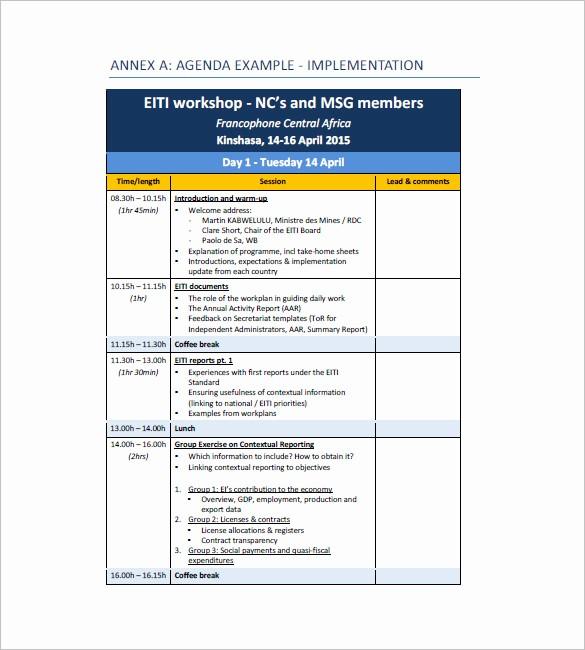 Workshop Agenda Template Microsoft Word New 10 Training Agenda Templates Free Sample Example