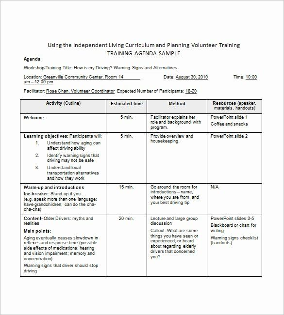 Workshop Agenda Template Microsoft Word New Training Agenda Template – 8 Free Word Excel Pdf format
