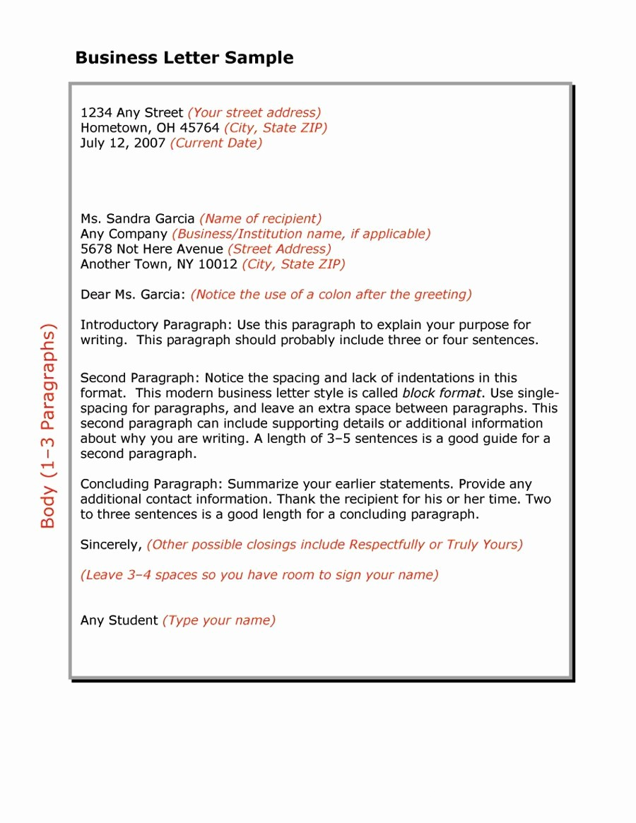 Writing A formal Business Letter Fresh 35 formal Business Letter format Templates & Examples