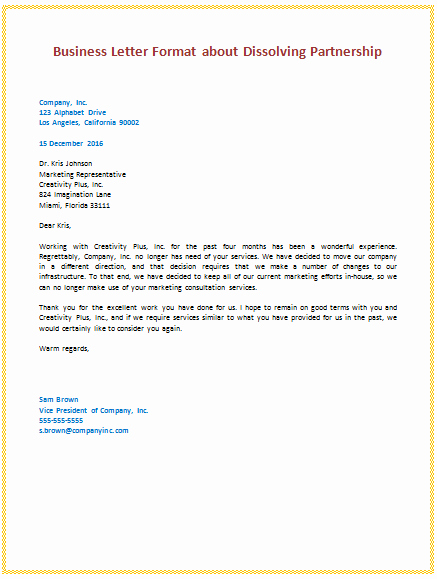 Writing A formal Business Letter Inspirational 6th Business Letter format About Dissolving Partnership