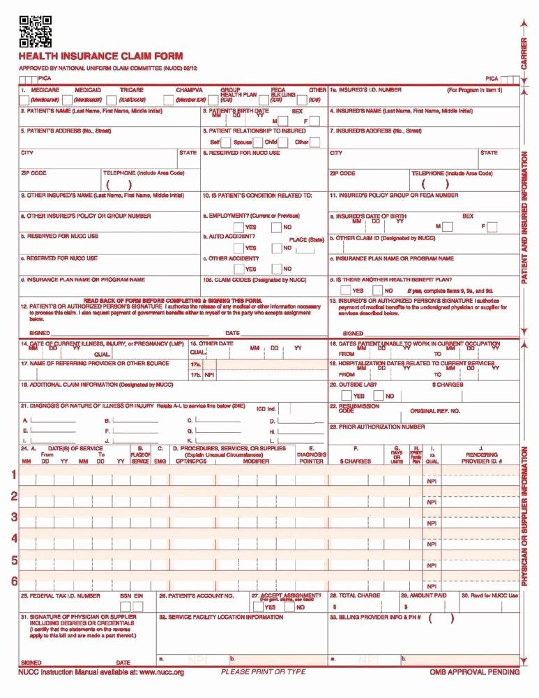 Www Pratcpasettlement Com Claim form Inspirational Hcfa Ream Cms 1500 Claim forms Hcfa Version 02 12 250