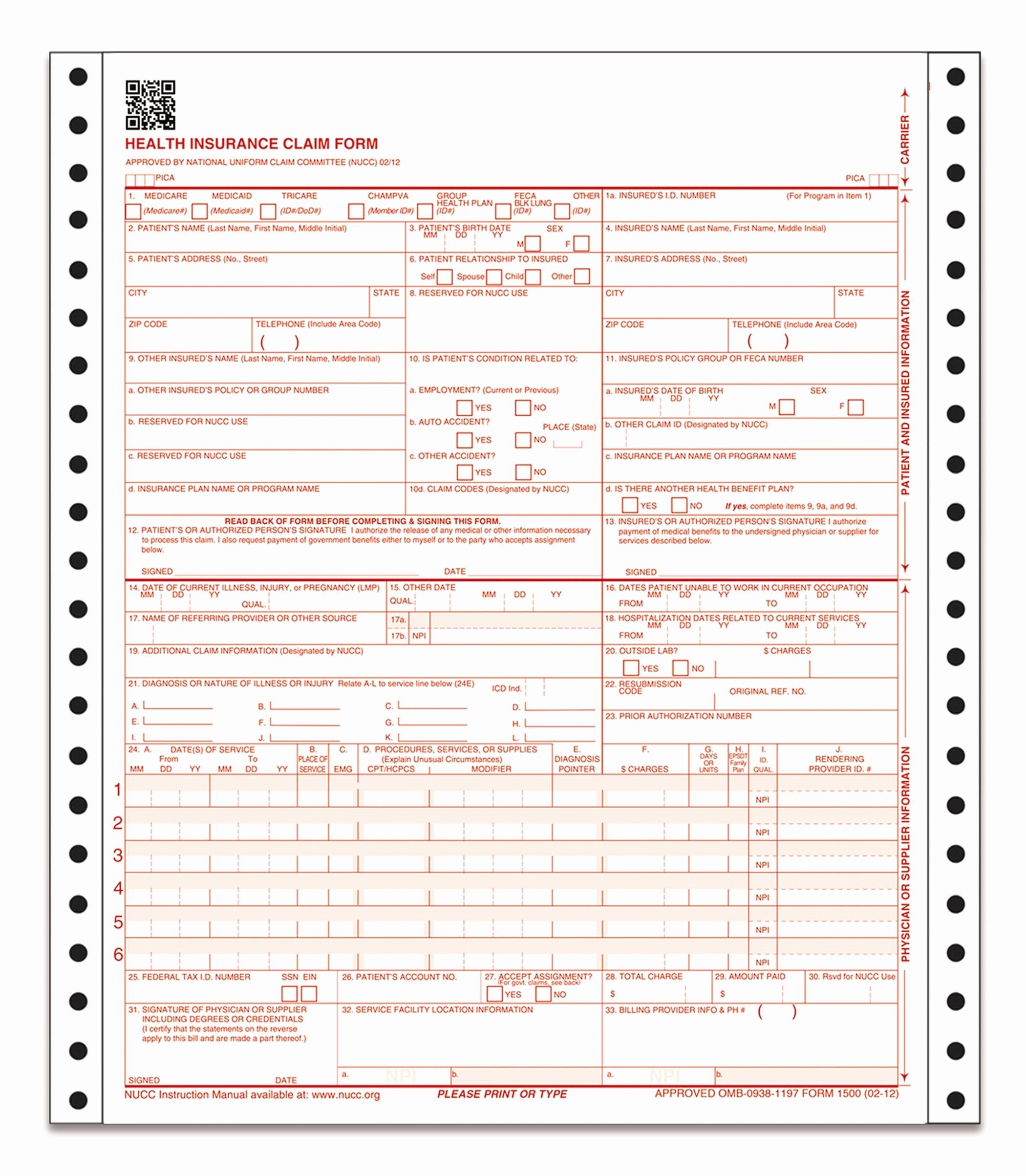 Www Pratcpasettlement Com Claim form Inspirational Health Insurance Claim form 2 Part Continuous 100 Sets