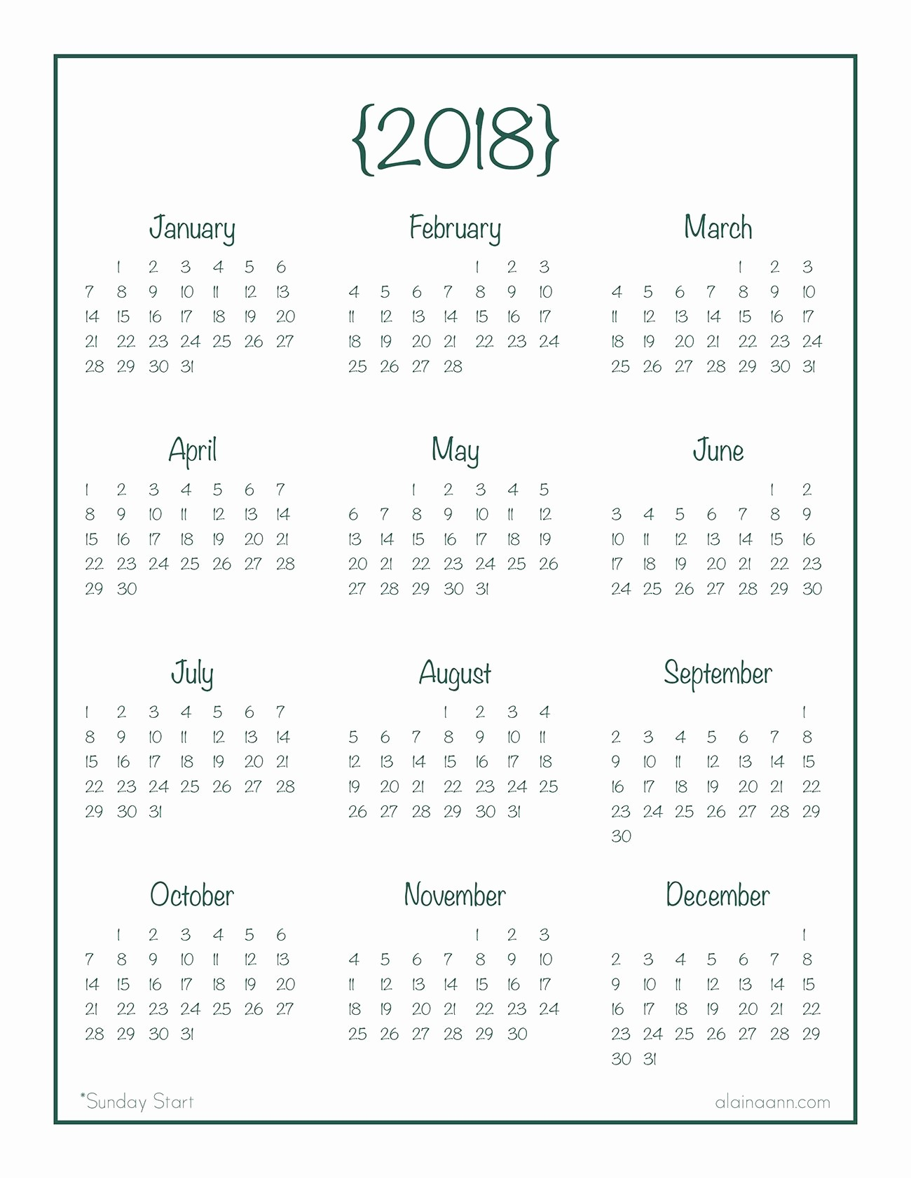 Year at A Glance Printable Awesome 2018 Year at A Glance Calendar Free Printable