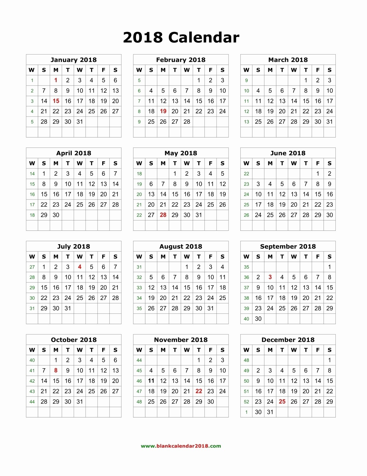Year at A Glance Printable Beautiful Year at A Glance Printable Calendar 2018