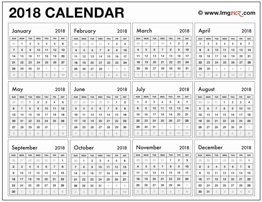 Year at A Glance Printable Best Of 2018 Calendar Printable Year at A Glance