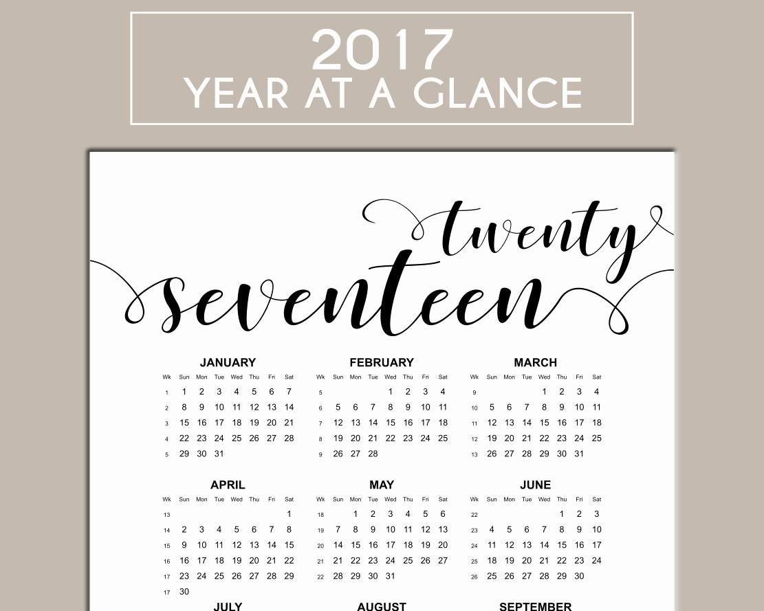Year at A Glance Printable Elegant 2017 Calendar Printable Year at A Glance Us Letter Size
