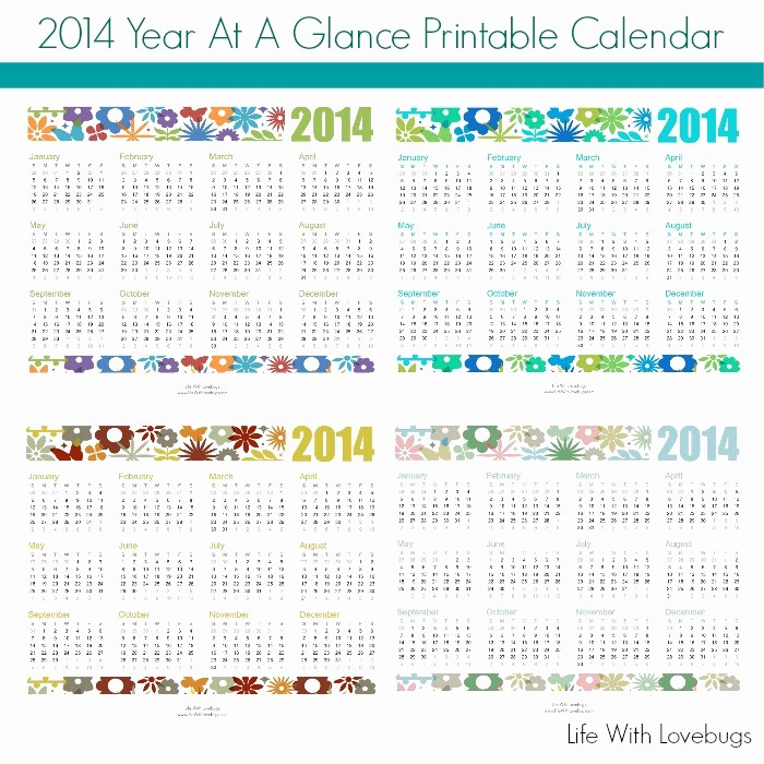 Year at A Glance Printable Fresh 2014 Year at A Glance Printable Calendar Life with Lovebugs