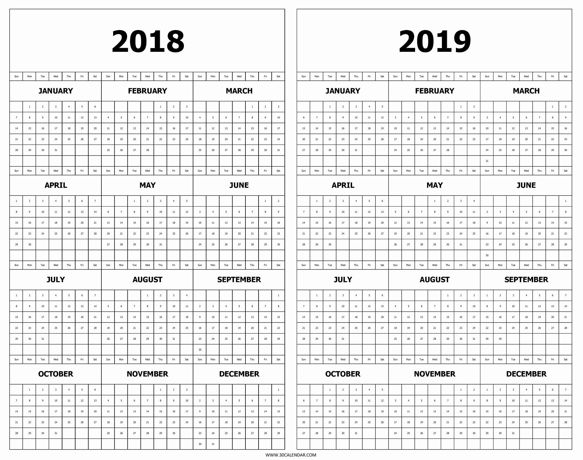 Year at A Glance Printable Fresh 2019 Year at A Glance Printable Calendar Calendar 2018 and