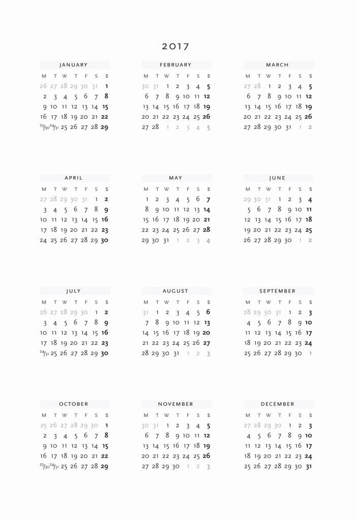 Year at A Glance Printable Fresh Year at A Glance Calendar 2017 Calendar Template 2018