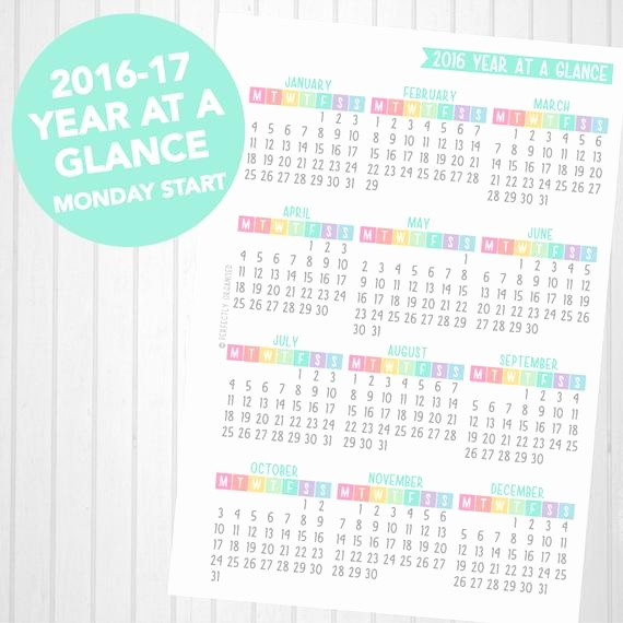 Year at A Glance Printable Inspirational A5 2016 & 2017 Year at A Glance Printable by
