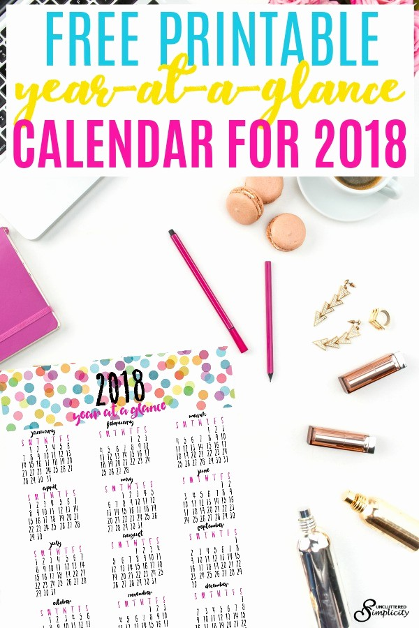 Year at A Glance Printable Luxury Free Printable Year at A Glance Calendar for 2018