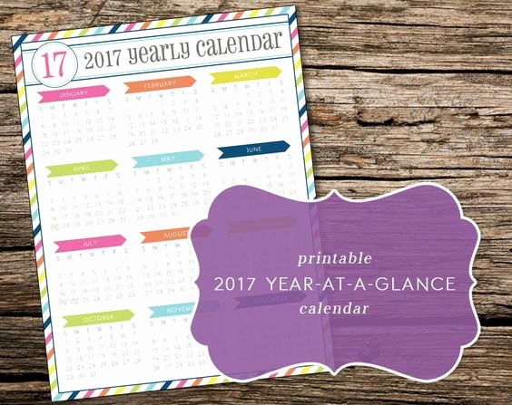 Year at A Glance Printable Luxury Printable 2017 Year at A Glance Calendar