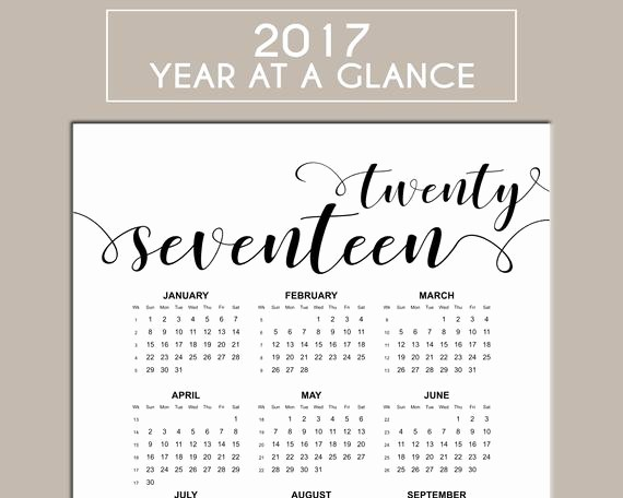 Year at A Glance Printable New 2017 Calendar Printable Year at A Glance Us Letter Size
