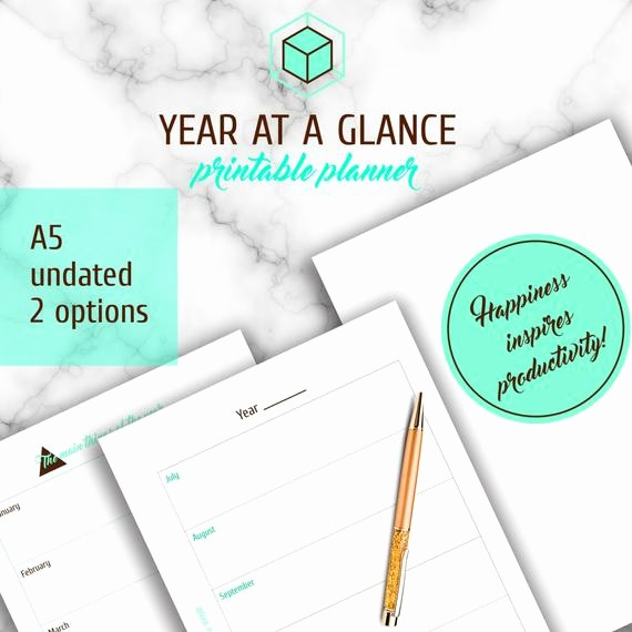 Year at A Glance Printable New A5 Yearly Printable Planner Year at A Glance by
