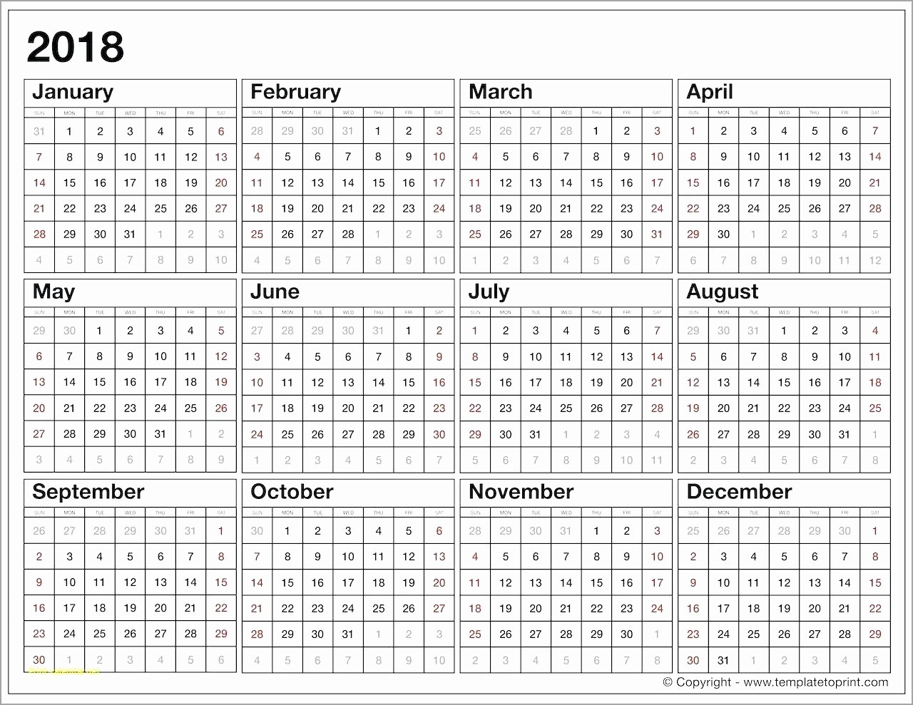 Year at A Glance Printable New Year at A Glance Template