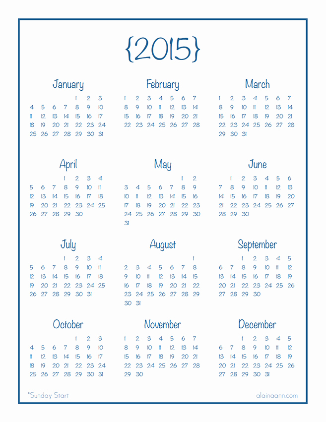 Year at A Glance Printable Unique 7 Best Of Calendar 2015 Ly Printable Yearly
