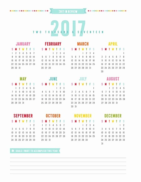 Year at A Glance Printable Unique Best Free 2017 Year at A Glance Calendars Home Printables
