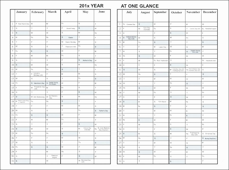Year at A Glance Printable Unique Month at A Glance Blank Calendar Template Year at A Glance