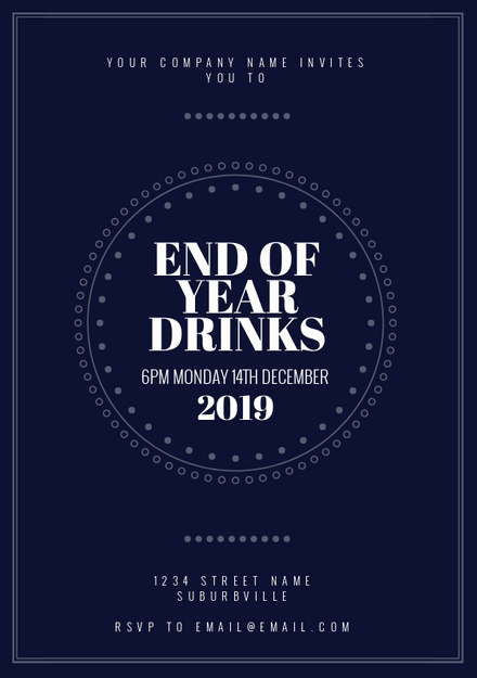 Year End Party Invitation Templates Beautiful Navy Blue & White End Of Year Drinks Invitation Template