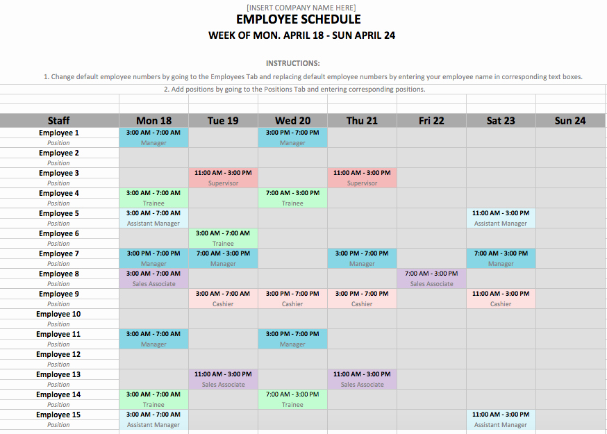 Yearly Work Schedule Template Excel Awesome Shift Schedule Template 24 7
