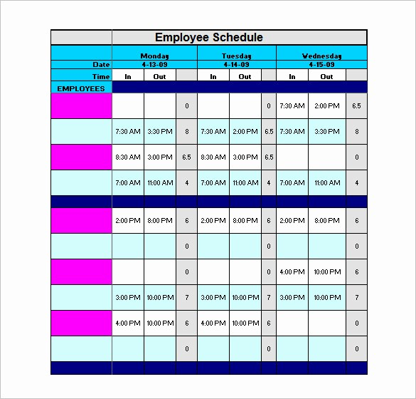Yearly Work Schedule Template Excel Beautiful Staff Schedule Template 6 Free Sample Example format