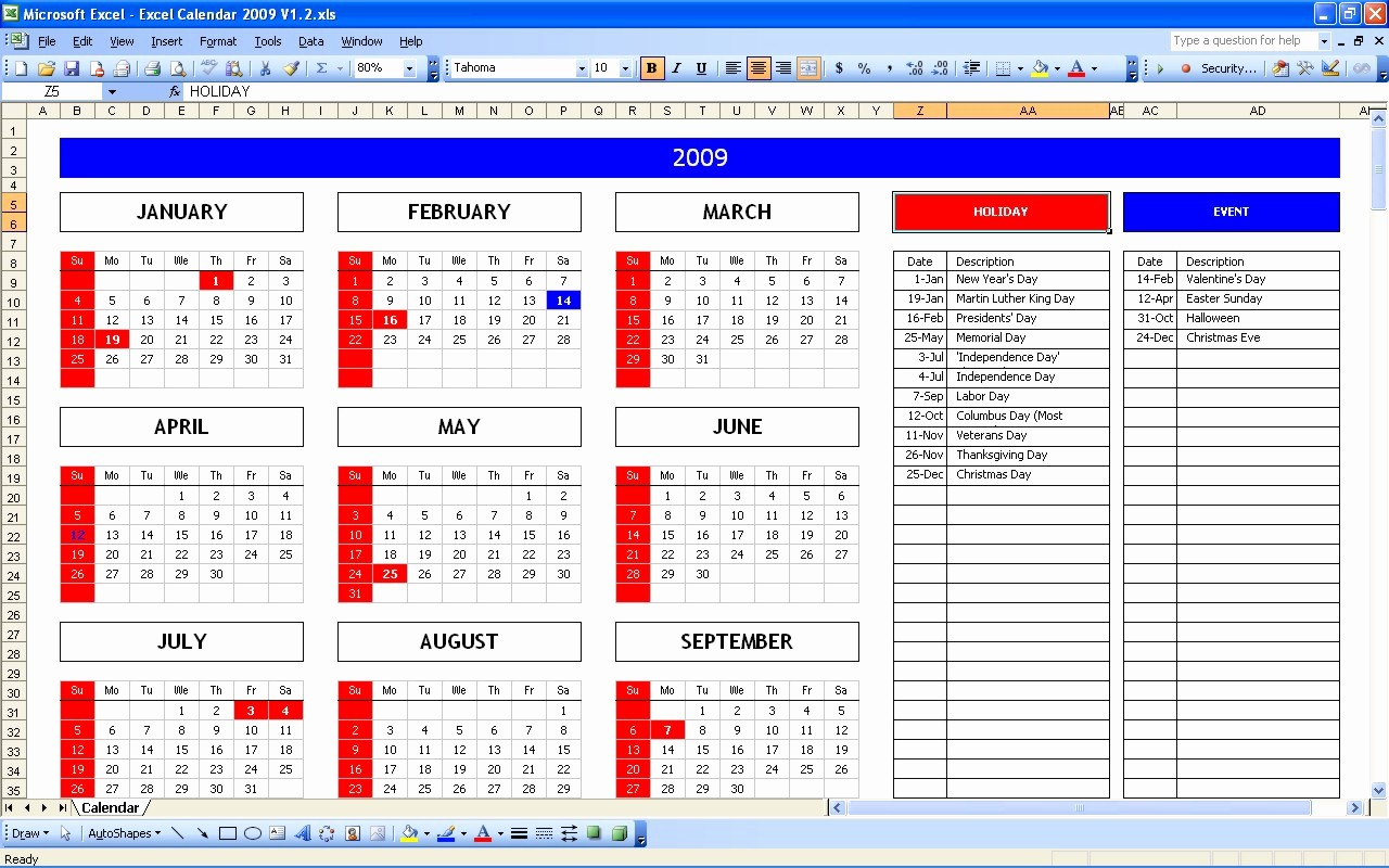 Yearly Work Schedule Template Excel Lovely Excel Holiday Calendar