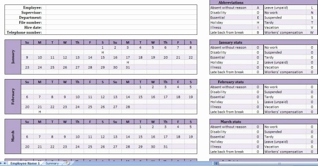Yearly Work Schedule Template Excel Lovely Free Employee attendance Tracker Get attendance Tracking