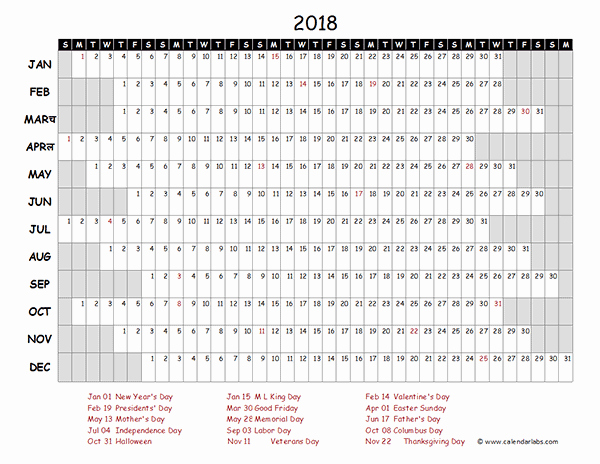 Yearly Work Schedule Template Excel New Editable Yearly Calendar 2018