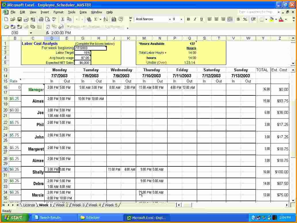 Yearly Work Schedule Template Excel Unique 7 Work Schedule Calendar
