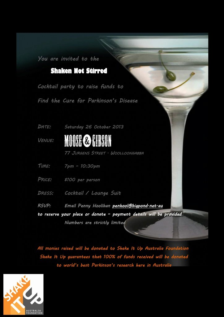 You Re Invited Template Word Elegant 'shaken Not Stirred' Cocktail Party In Brisbane to Support