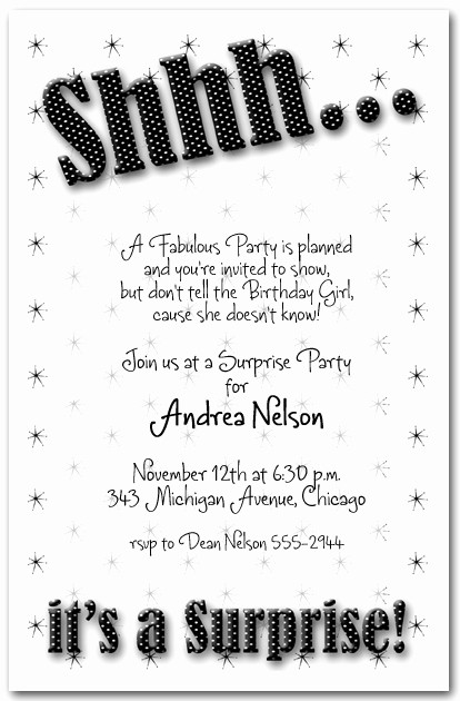 You Re Invited Template Word Lovely Shhh Black Polka Dot Surprise Party Invitations Surprise