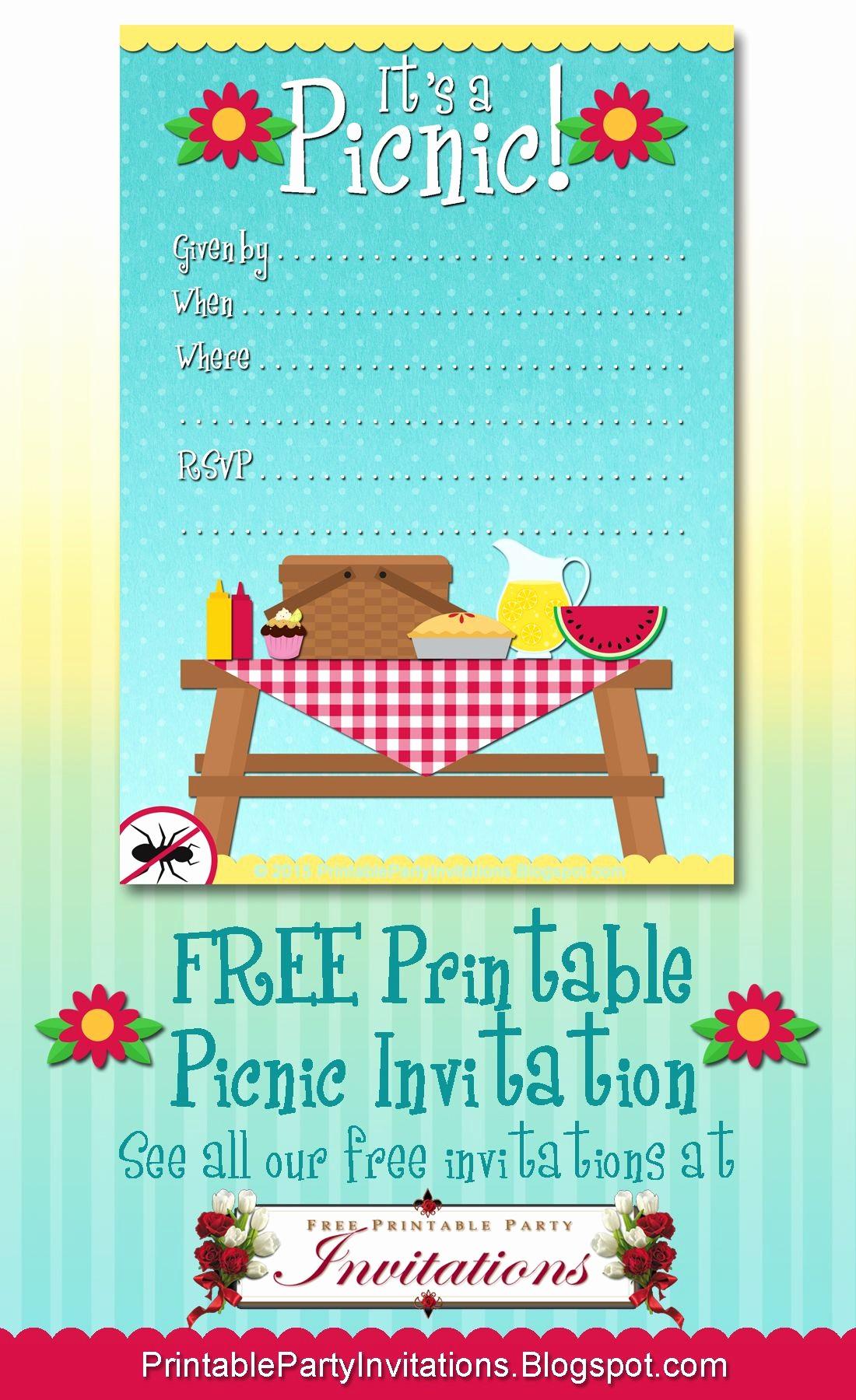 You Re Invited Template Word Unique Free Printable Picnic Invitation
