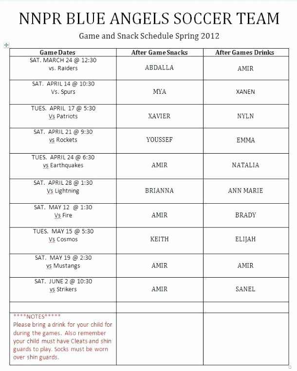 Youth Sports Snack Schedule Template Best Of Youth Sports Snack Schedule Template Luxury Practice