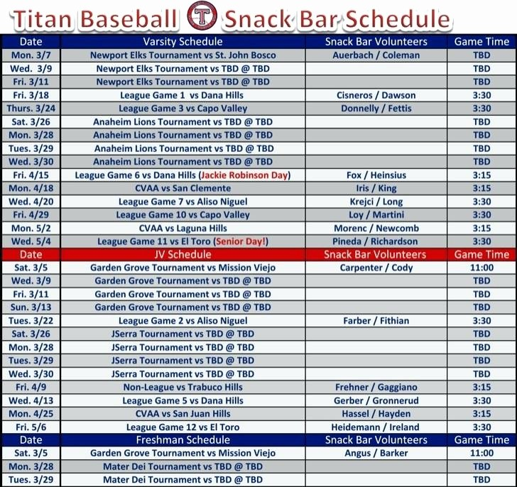 Youth Sports Snack Schedule Template Unique Template Game Schedule Template Best Redskins Ideas