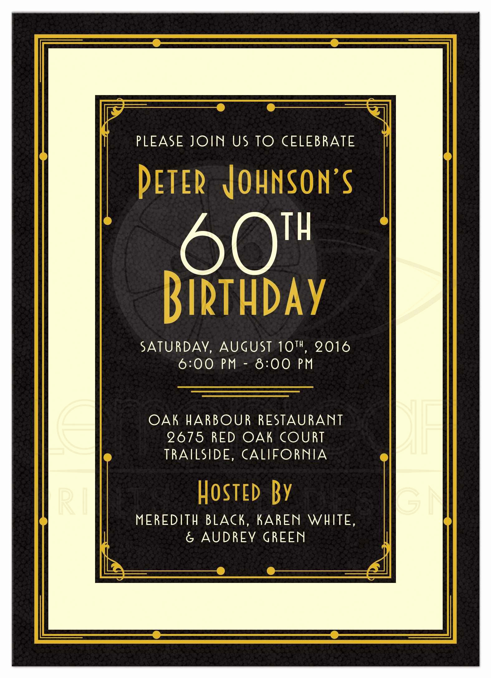 60th Birthday Invitations Template Inspirational 60th Birthday Party Invitations