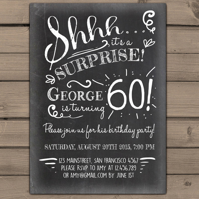60th Birthday Invitations Template Inspirational Surprise 60th Birthday Invitation Chalkboard Invitation