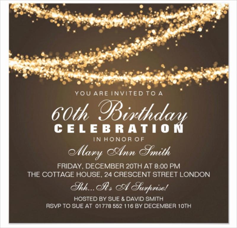 60th Birthday Invitations Template New 60th Birthday Invitation Card Template Free Download