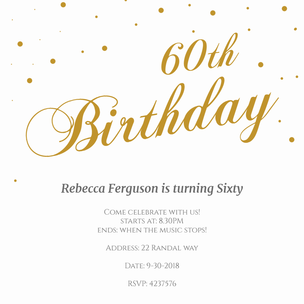 60th Birthday Invitations Template New 60th Golden Flakes Free Birthday Invitation Template