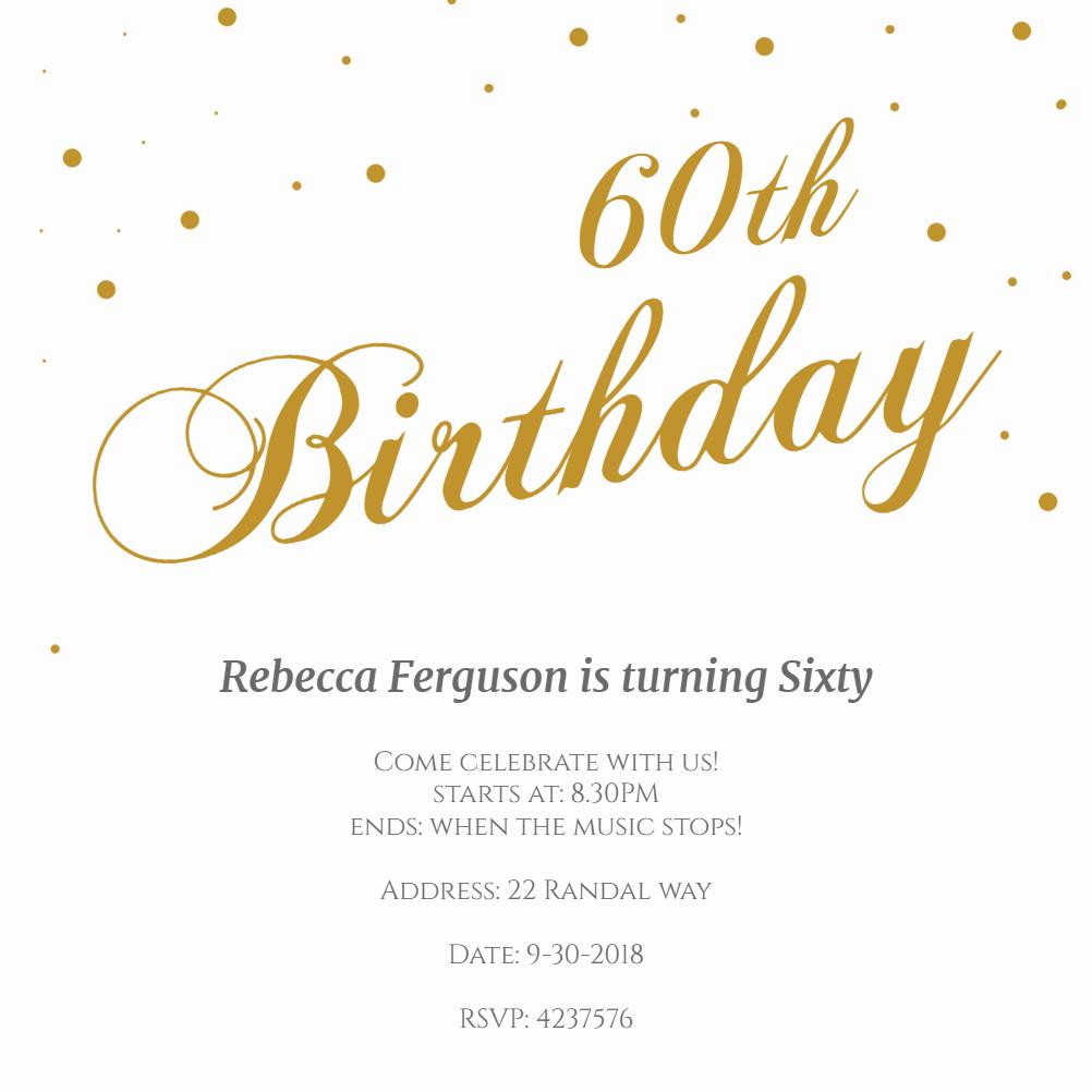60th Birthday Invitations Template New 60th Golden Flakes Free Birthday Invitation Template