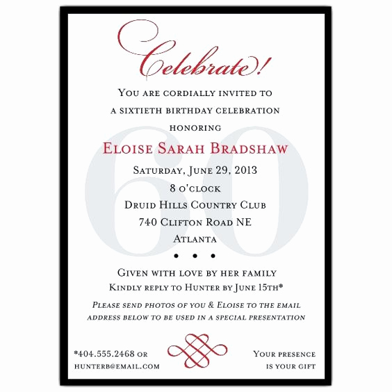 60th Birthday Invite Templates Awesome Birthday Invitation Templates 60th Birthday Invitation