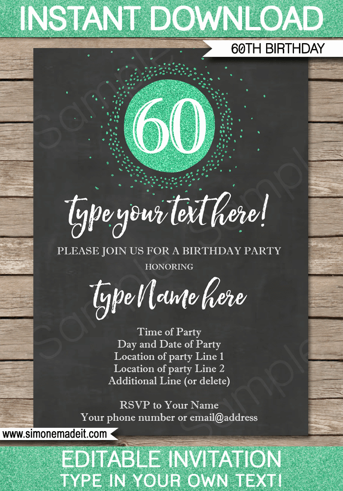 60th Birthday Invite Templates Beautiful Chalkboard 60th Birthday Invitations Template