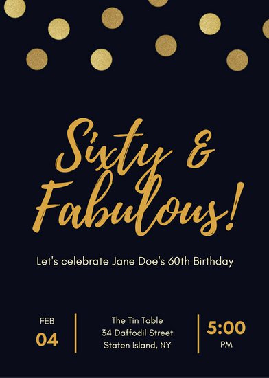 60th Birthday Invite Templates Elegant Black and Gold Polka Dot 60th Birthday Invitation